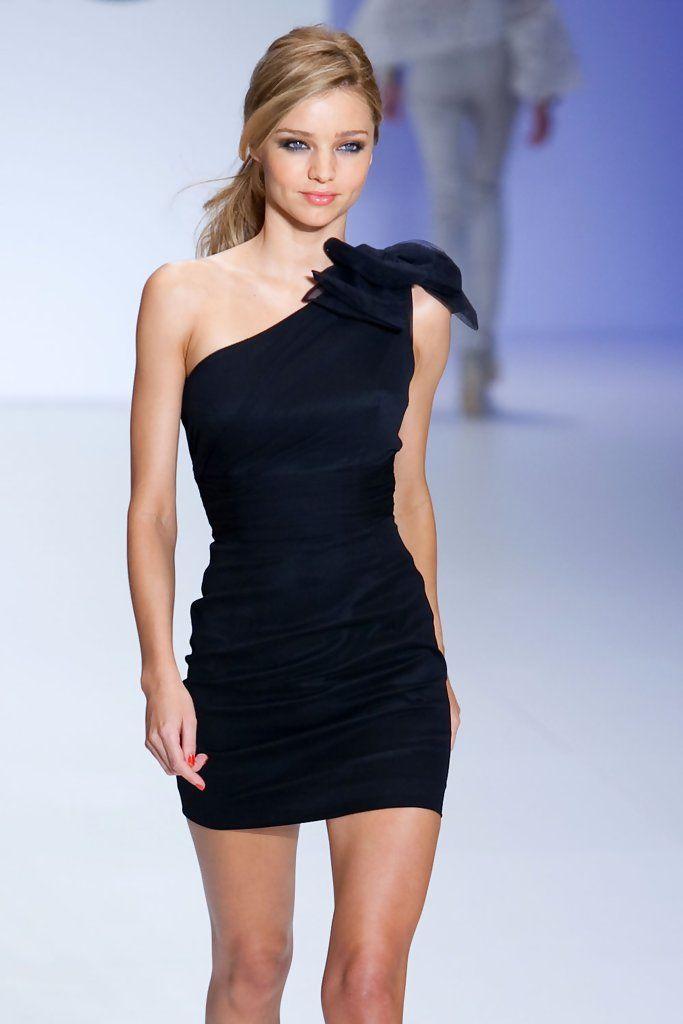 David Jones Spring Fashion Launch bow one shoulder little black dress