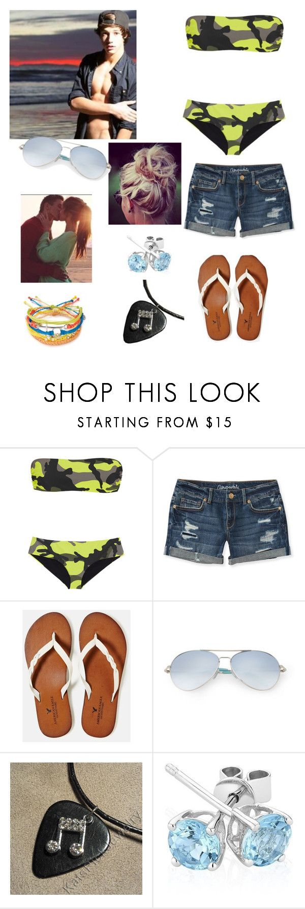 """""""day at the beach with Cameron Dallas"""" by cherylkinberg97 ❤ liked on Polyvore featuring Valentino, Aéropostale, American Eagle Outfitters, Matthew Williamson, Reeds Jewelers, Pura Vida, Summer, beach and CameronDallas"""