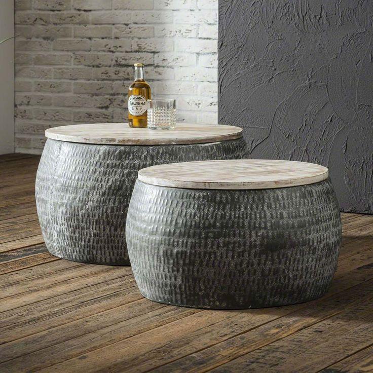 Couchtisch Set Mondi in Grau Stahl rund Holz massiv (2-teilig)