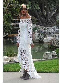 Bohemian Lace Crochet Hippie Wedding Dresses High Low Lace BOHEMIAN WEDDING