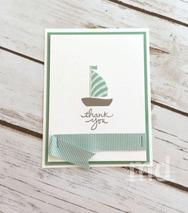 Mint Macaron OnStage Live 2016 Display sample by Monika Davis. New products: Swirly Bird stamp set, Mini Striped Mint Macaron Ribbon. #onstage2016 #stampinup #displaysample #stampingatmonikas #mintmacaron