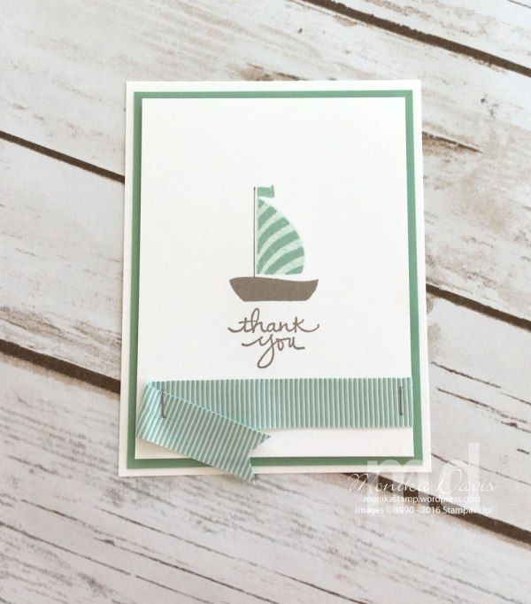 Mint Macaron OnStage Live 2016 Display sample by Monika Davis. New products: Swirly Bird stamp set, Mini Striped Mint Macaron Ribbon. #onstage2016 #stampinup #displaysample #stampingatmonikas #mintmacaron