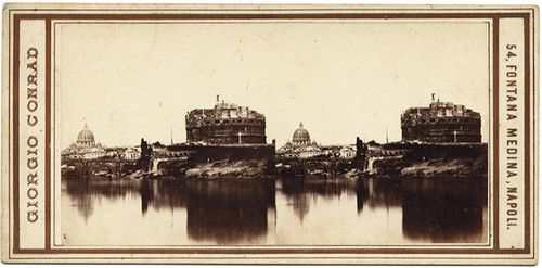 Stereograph of the Tiber and Castel Sant'Angelo, Rome.