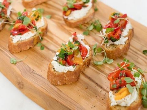 Easy appetizer alert! Check out @AyeshaCurry's Roasted Pepper and Goat Cheese Bruschetta on a new #HomeCooking @ 12:30|11:30c! [link to recipe in bio]