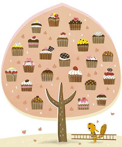 tree: Cupcake Tree, Cupcaketr Kawaii2, Squirrels, Illustration, Art Prints, Art Posters, Art Ilustrada, Cupcakes Rosa-Choqu, Cupcakes Trees
