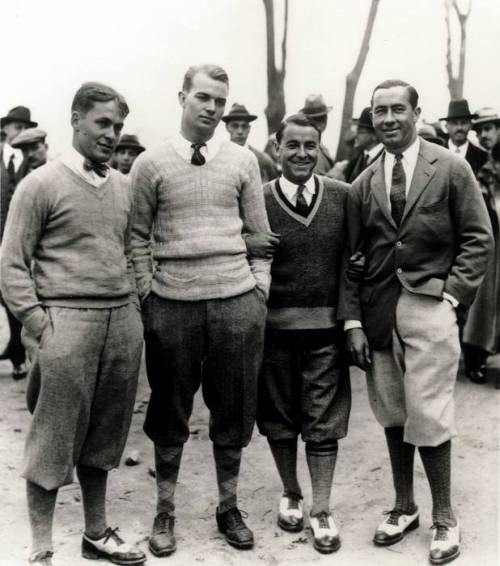 Top amateur Golfer and lawyer Bobby Jones (fat left), with fellow competitors posing in 20's golf chic.