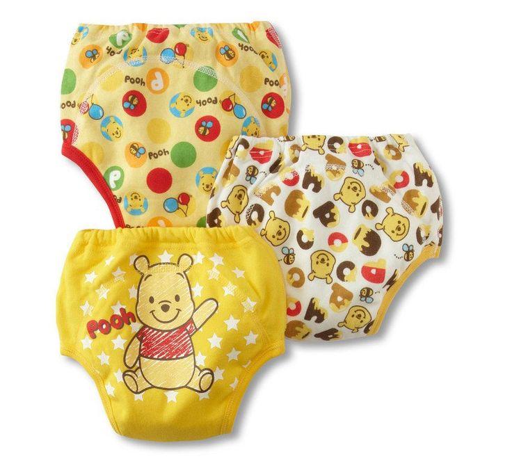 3 Pk Unisex Potty Training Pants Baby Kids Reusable Yellow Winnie The Pooh