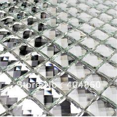 tredici sfaccettature bagno diamante piastrelle di vetro cucina mosaico a specchio argento