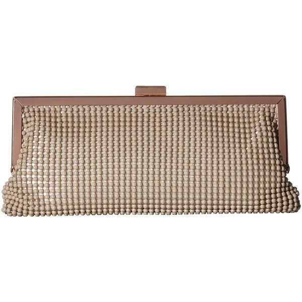 Jessica McClintock Erin Ball Mesh Frame Clutch (Taupe) Clutch Handbags ($30) ❤ liked on Polyvore featuring bags, handbags, clutches, taupe, strap purse, brown purse, ball clasp purse, taupe purse and clasp purse