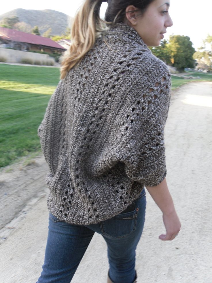 Shrug Cardigan Shawl w/Sleeves Easy/Beginner CROCHET PDF PATTERN...  I'll pin this bc it looks interesting but I think the open front might drive me crazy.  I live for buttons and closures.