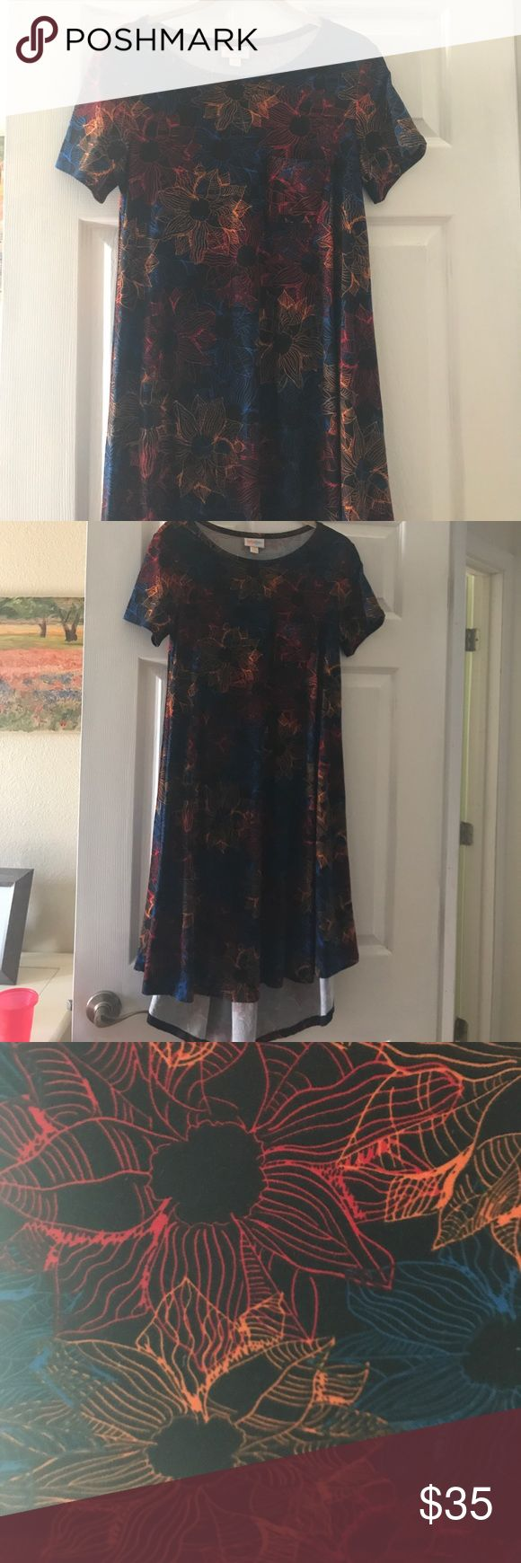 Lularoe carly dress size XXS EUC hardy worn Beautiful leggings material Carly dress size XXS. Hardly worn. Lovely pattern. LuLaRoe Dresses High Low
