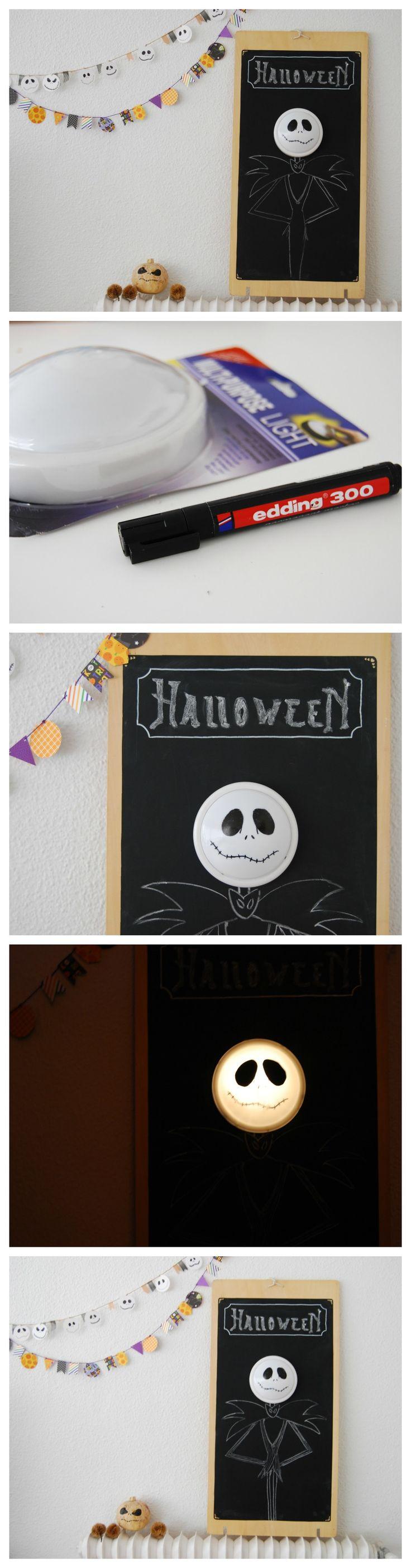 """Cartel  luminoso de Jack Skeleton, facilísimo y perfecto para una fiesta de """"Pesadilla antes de Navidad"""" o Halloween. Jack Skellington lantern for Halloween or """"nightmare before Christmas"""" party!"""