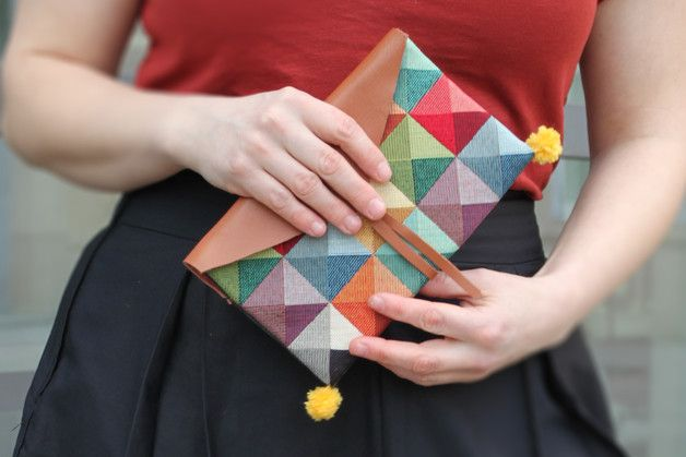 Clutches – Cheerful clutch with leather flap and two pompoms – a unique product by lucs on DaWanda