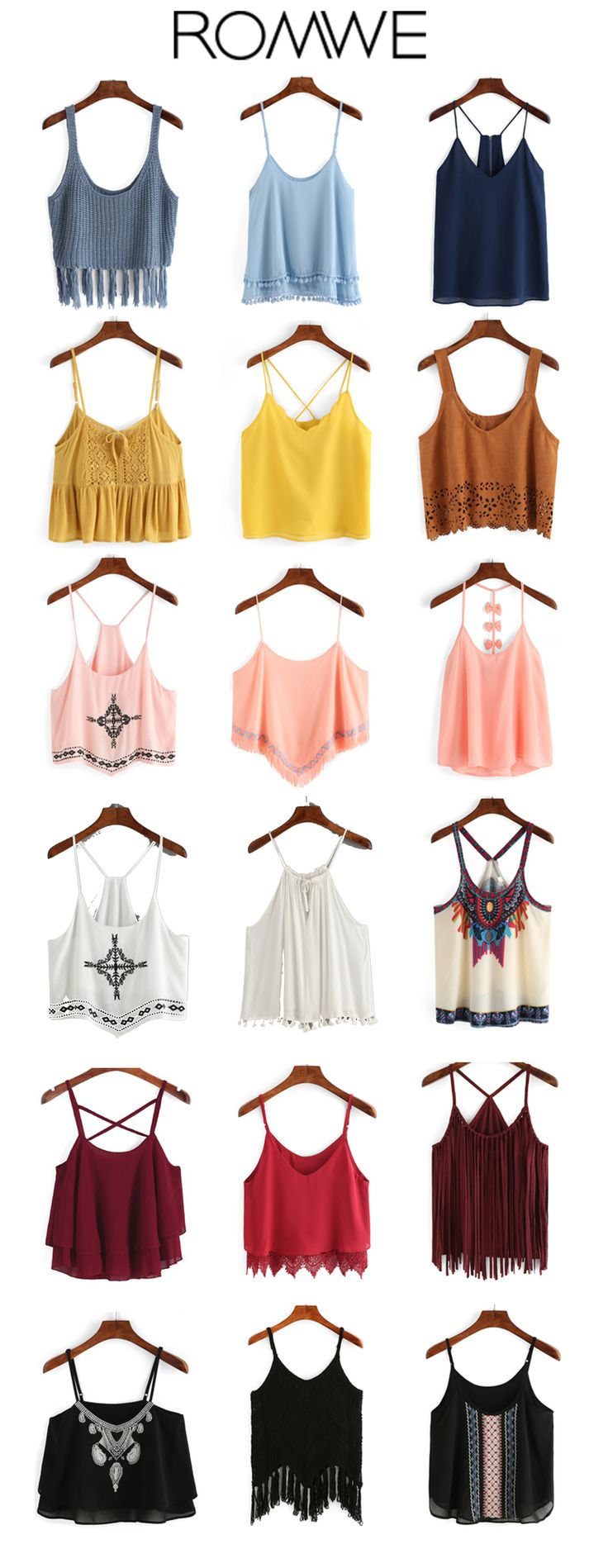 Summer outfit-Boho Cami Tops. Casual cami top rage this summer. Cami + boho, this style is also trending the whole summer. Not only in white, black & red color, but more bright colors get hot. Start from US$6.99.