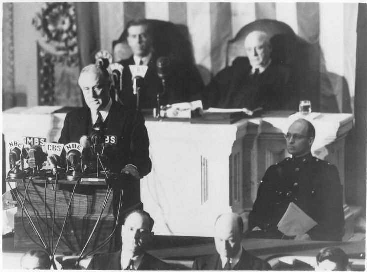 "President Roosevelt's ""Date Which Will Live in Infamy"" speech after the bombing of Pearl Harbor"