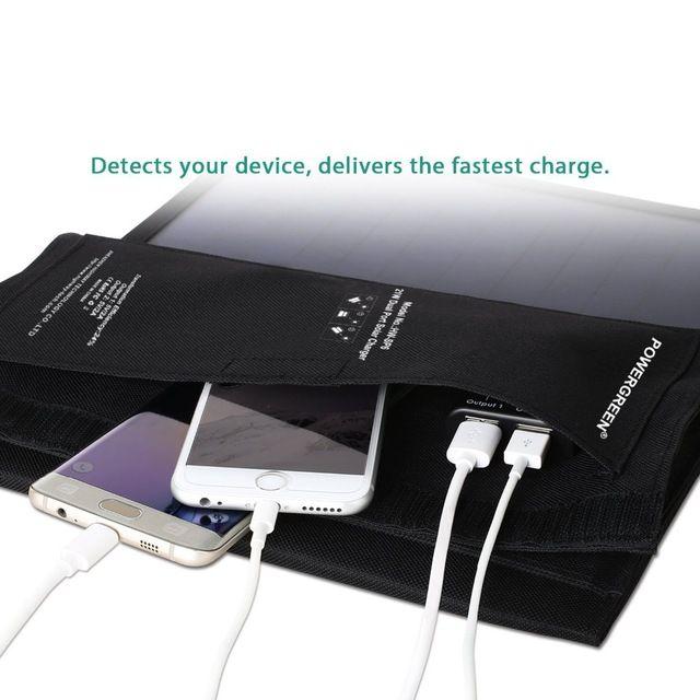 Powergreen teléfono plegable cargador solar 21 vatios portátil 5 v 2a solar power bank paquete externo de la batería para dispositivos móviles