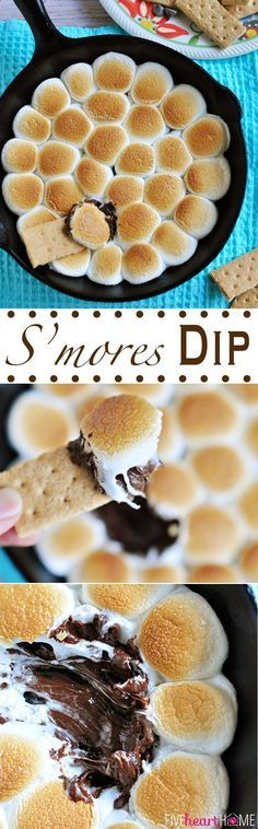 Smores Dip ~ melted chocolate and toasty marshmallows bake up in a skillet; scoop up with graham crackers for a perfect party dessert! | http://FiveHeartHome.com Check out more recipes like this! Visit yumpinrecipes.com/