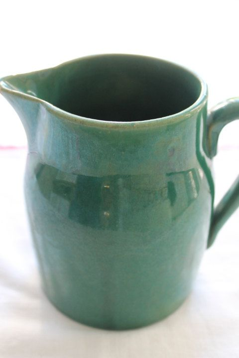 Vintage Medalta Potteries Green 2 PT Jug  Pitcher