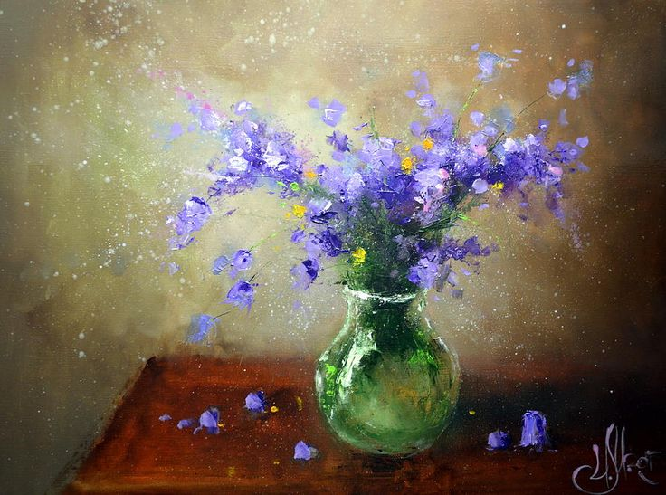 Bouquet Of Bluebells by Igor Medvedev    #RussianArtistsNewWave #IgorMedvedev #Painting #FlowerArt #ArtForHome #HomeDecor #FineArtPrints #IdeasForGift