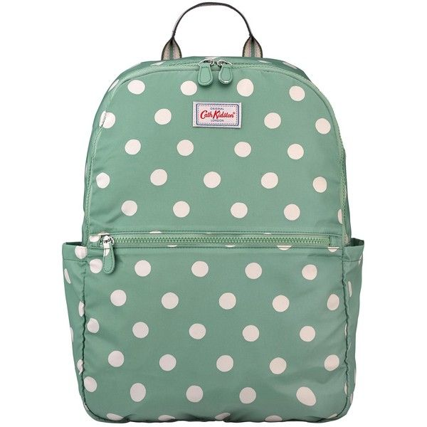 Cath Kidston Button Spot Faway Backpack, Green (£28) ❤ liked on Polyvore featuring bags, backpacks, padded laptop backpack, laptop backpacks, laptop rucksack, green backpack and polka dot backpack