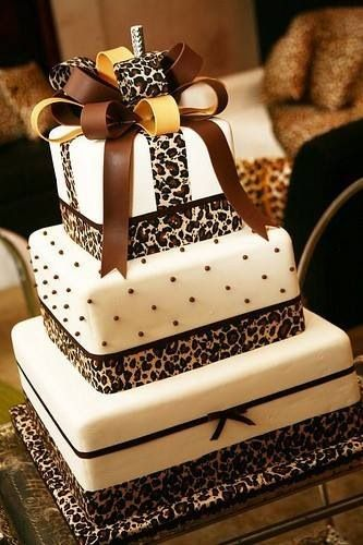 Animal print ribbons on 3 tier square Cake party ideas ...