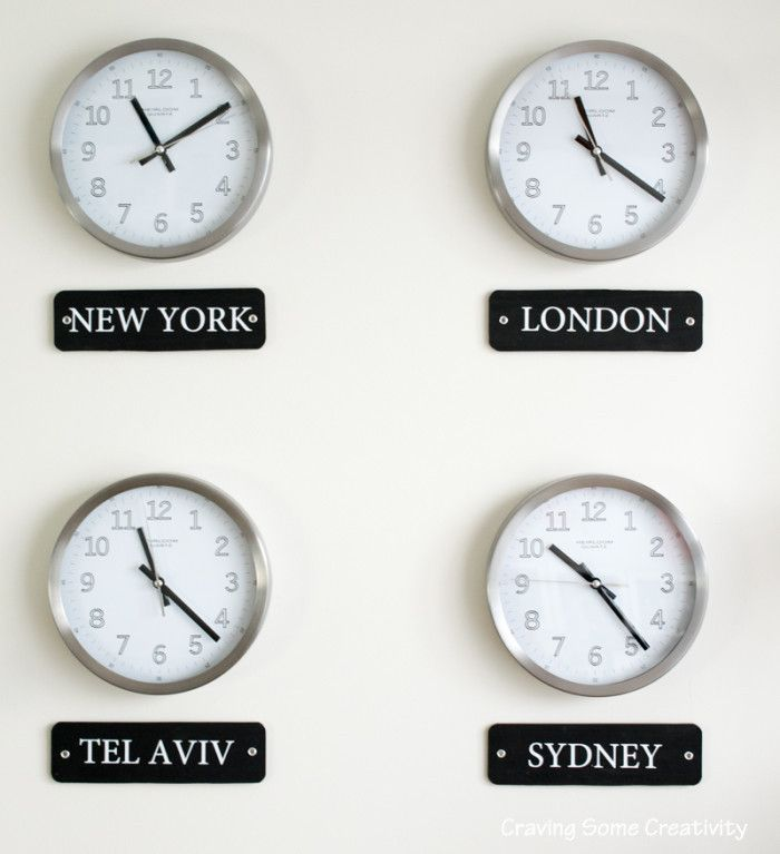 How to make an International World Clock Wall Display - These are so cool! Choose any cities you like and makes these easy labels for underneath.