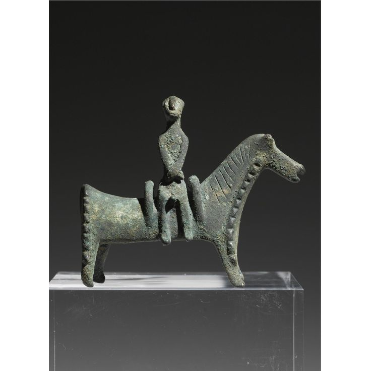 A PERSIAN BRONZE HORSE AND RIDER, SOUTHWEST CASPIAN AREA , EARLY 1ST MILLENNIUM B.C.