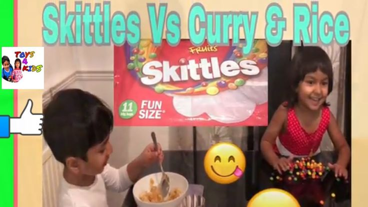 Skittles Vs chicken curry & rice 🍛 kids eating & singing Skittles Finger family song & fun
