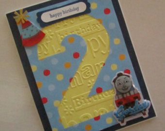 Embossed Birthday card with Gordon from Thomas the Tank Engine for 2 year old boy, blue with polka dots and yellow