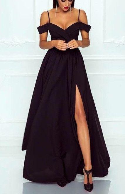 black prom dresses,off shoulder evening gowns,long satin formal gowns,black even…