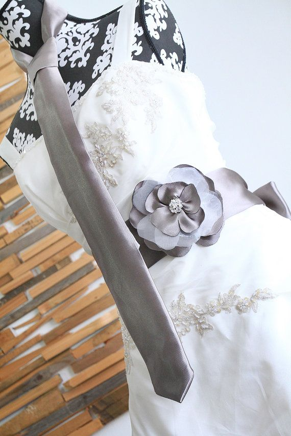 Bridal sash with matching tie #wedding #taupe  #WITenZILVER