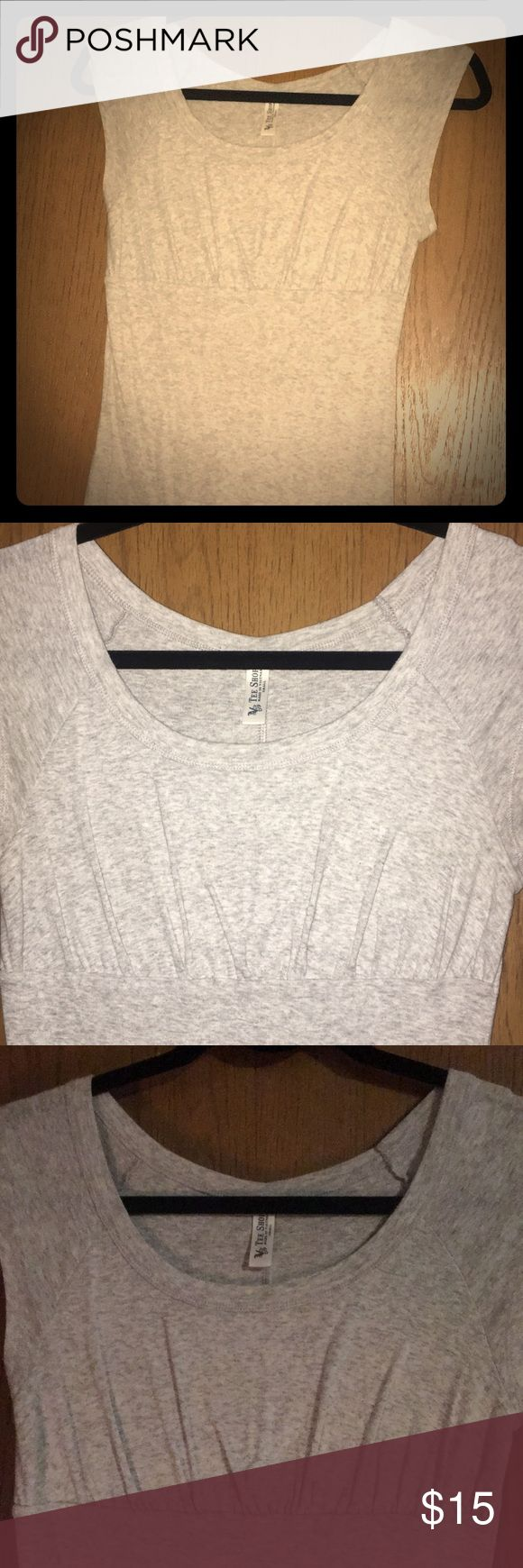 Victoria's Secret catalog Sexy T-shirt! Grey, light, babydoll T. Gathers under bust to accentuate! Capped sleeves. Size small. Lots of life left!! Tee Shop Tops Tees - Short Sleeve