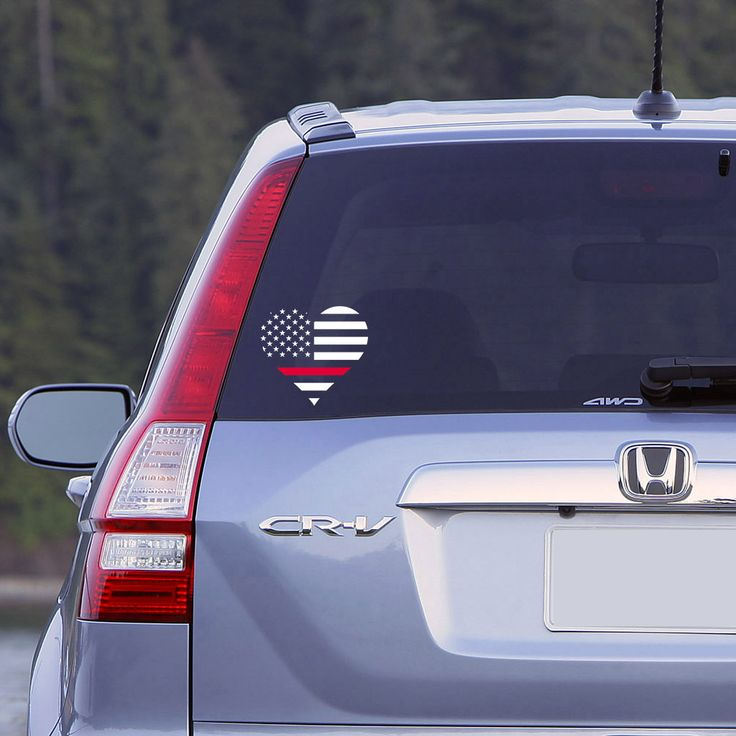Thin Red Line Heart Flag Car Window Decal Firefighter Decal