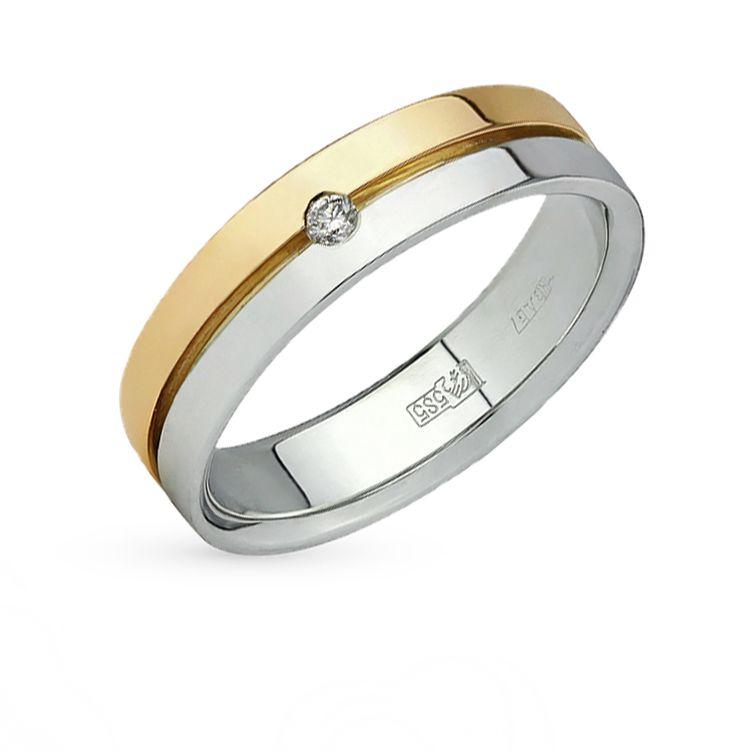 Золотое кольцо с бриллиантами ЮВЕРОС 10-147-Ж: белое и жёлтое золото 585 пробы, бриллиант — купить в интернет-магазине SUNLIGHT, фото, артикул 45483