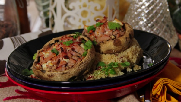 Turkey stuffed portobello mushrooms with couscous