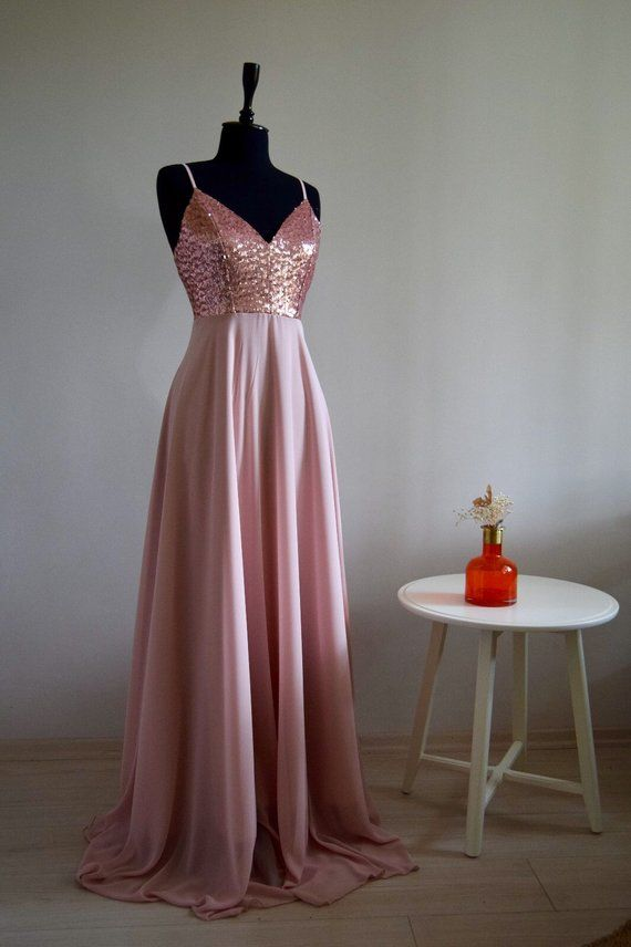 22b783e75e0 Charming Chiffon With Top Sequin Rose Gold Bridesmaid Dress