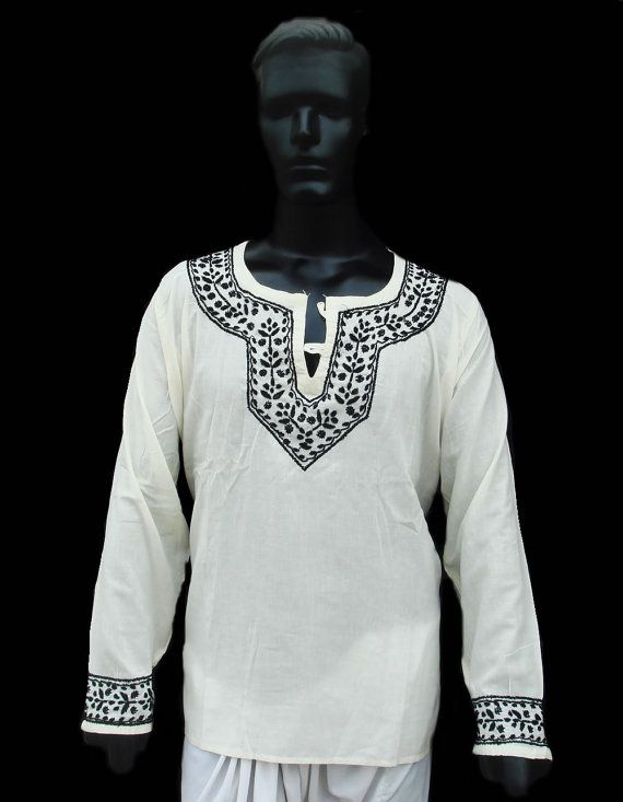 Plus size clothing for mens dress IVORY Kurta Shirt Tunic Top Cotton Gifts  Chikan Hand Embroidered