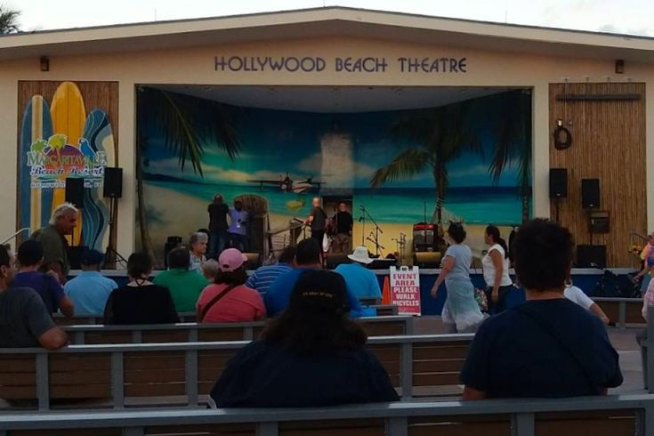Almost every night, there's free live music at the outdoor Historic Hollywood Beach Theatre right on the Hollywood Beach boardwalk near Margaretville resort. Hollywood FL