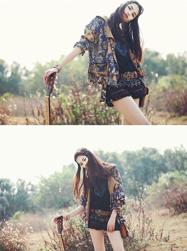 M56 秋 オリジナル 花柄ジャケット カジュアル アジアン エスニックファッション