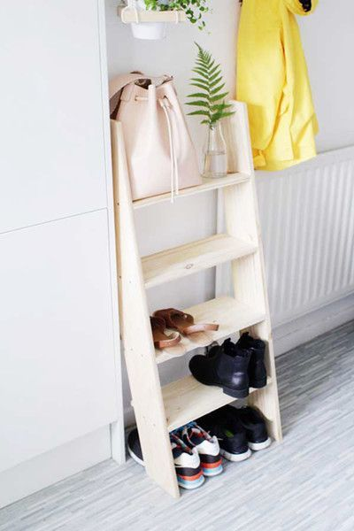 Ladder Shelf Ladder Shelf Ladders don't take up that much space and can serve as a cute and dynamic storage solution. - 30 Small-Space Hacks You've Never Seen Before - Photos