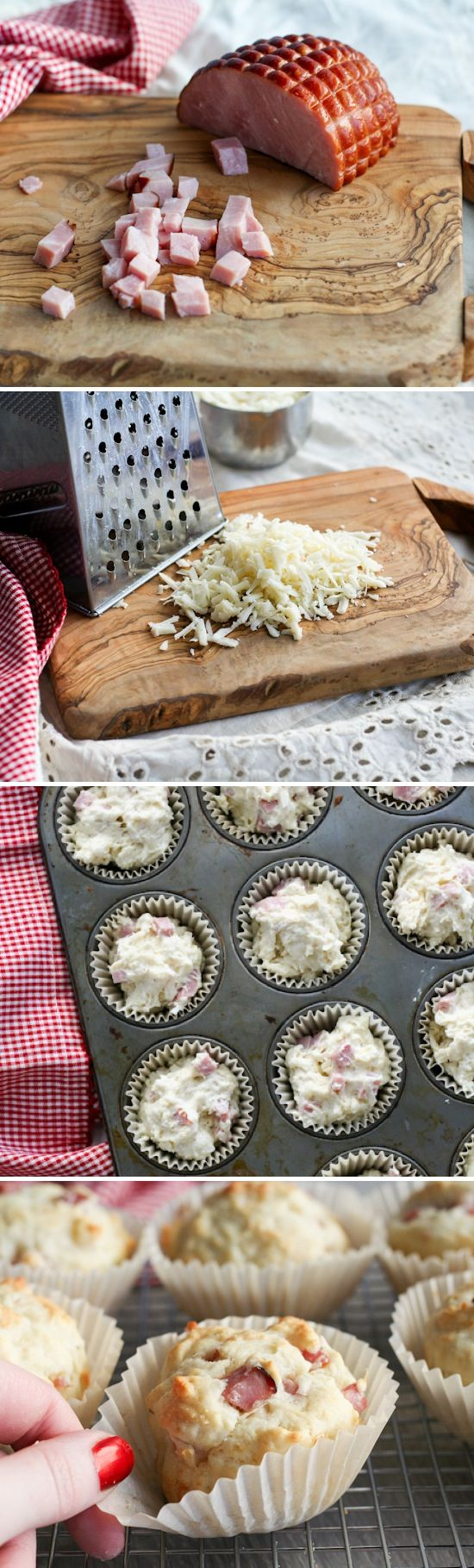 Stephanie's Ham/Preheat the oven to 375 and line two muffin tins with papers  1. Stir together the flour, sugar, baking powder, baking soda, salt, and thyme in a medium bowl.  2. In a separate bowl combine the milk, egg, and melted butter.  3. Stir milk mixture into the flour mixture until barely combined. Fold in the ham and swiss. Divide the batter up between 17 muffin cups.  4. Bake at 375 for 15-20 minutes. Mine were always done at 17 minutes but it will depend on your oven.