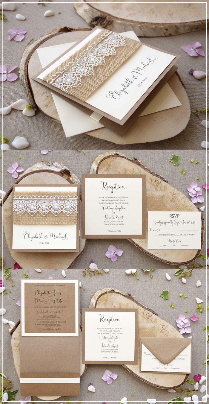 Rustic Lace Invitations Pocketfold Lace Wedding Invitations Lace Invitations Wedding Invitations Diy Handmade Lace Wedding Invitations
