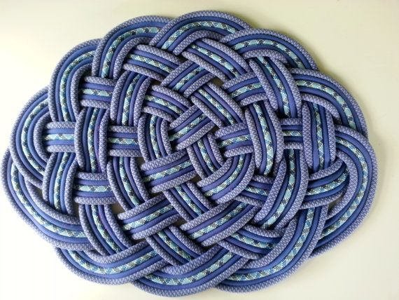 Nauti Narwhal Large Blue Nautical Knot Rug Mat Handwoven Of Upcycled Material Periwinkle Ocean