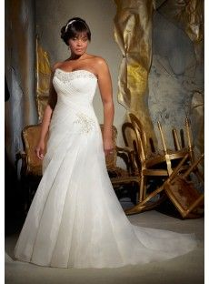 Organza A Line Plus Size Wedding Dress