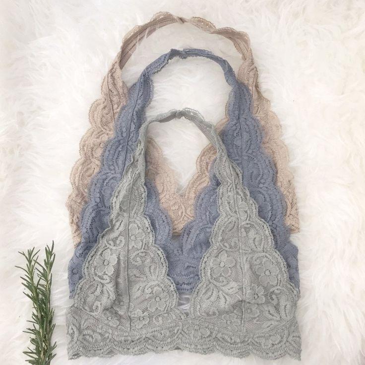 Lace Halter Bralettes Sage, Gray, Beige PennyLuna.com