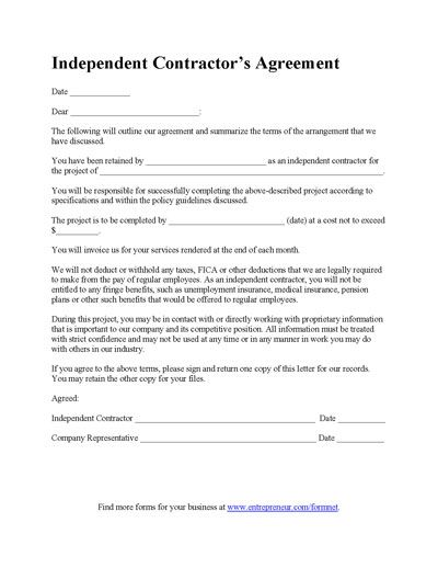 Contractual Agreement Template Contractor Agreement Template