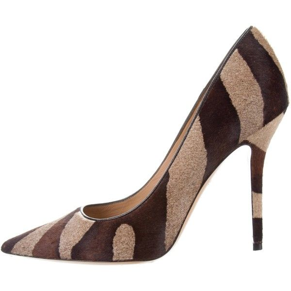 Pre-owned Salvatore Ferragamo Ponyhair Pointed-Toe Pumps ($295) ❤ liked on Polyvore featuring shoes, pumps, animal print, print pumps, calf hair pumps, zebra pumps, zebra shoes and salvatore ferragamo shoes