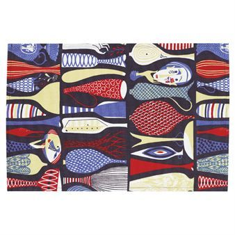 Exclusive placemat with one of the most popular and celebrated Swedish pattern from the 1950s - Pottery by Stig Lindberg.