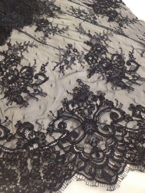 Ebroidered lace, chic dress lace, haute couture, black lace, Sanmartin, fabrics