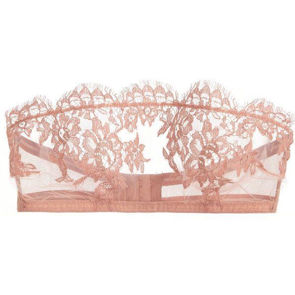 I.D. Sarrieri Jamais le Premier Soir tulle and Chantilly lace bandeau... (630 MYR) ❤ liked on Polyvore featuring intimates, bras, lingerie, underwear, bra, tops, pink, lace bandeau bra, pink bandeau bra and lace lingerie